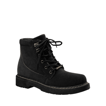 Lace Up Stitching Ankle Boots - BLACK 40