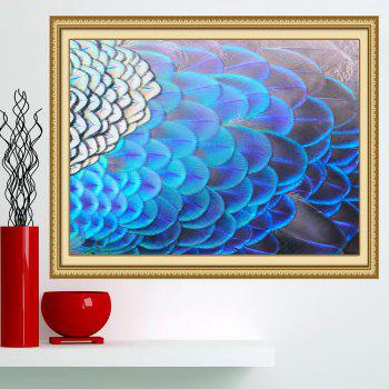 Shiny Peacock Feathers Print Wall Art Decorative Painting - BLUE BLUE