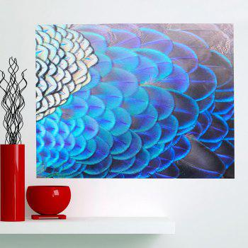 Shiny Peacock Feathers Print Wall Art Decorative Painting - BLUE 1PC:24*24 INCH( NO FRAME )