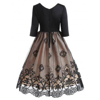 Floral Lace Panel V Neck Vintage Dress - BLACK XL