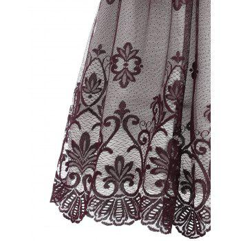 Floral Lace Panel V Neck Vintage Dress - WINE RED XL