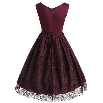 Plaid Floral Lace Sleeveless Vintage Dress - Rouge vineux XL