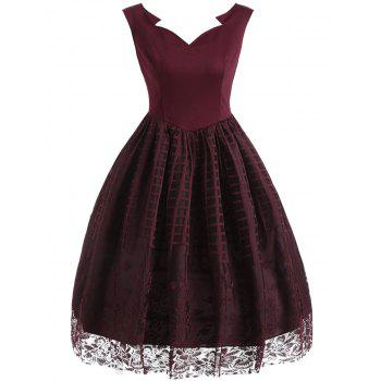 Plaid Floral Lace Sleeveless Vintage Dress - WINE RED WINE RED
