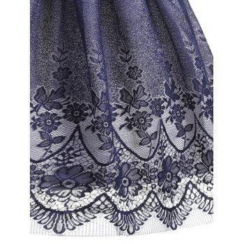 Floral Lace Sleeveless Overlay Vintage Dress - PURPLISH BLUE 2XL