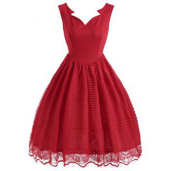 Sleeveless Striped Lace Vintage Dress - RED 2XL
