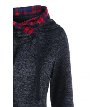 Plaid Trim Marled Curved Hoodie - DARK GREY XL