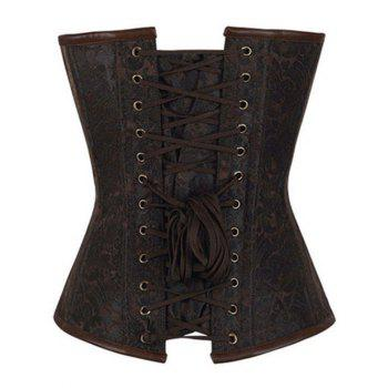 Chain Buckle Steampunk Steel Boned Lace Up Corset - BROWN M