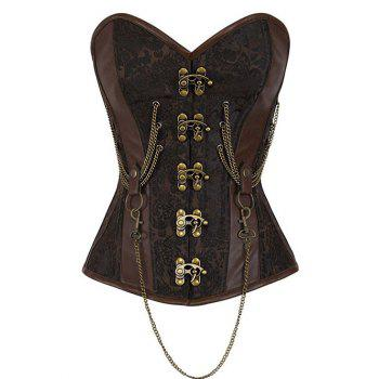 Chain Buckle Steampunk Steel Boned Lace Up Corset - BROWN L