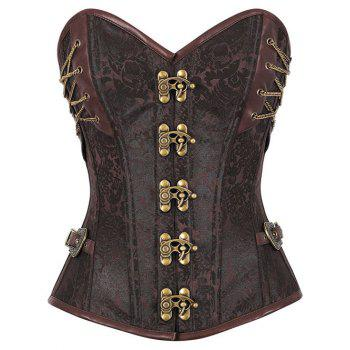 Jacquard Brocade Steampunk Lace Up Corset Top - BROWN BROWN