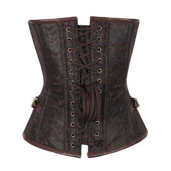 Jacquard Brocade Steampunk Lace Up Corset Top - BROWN 2XL