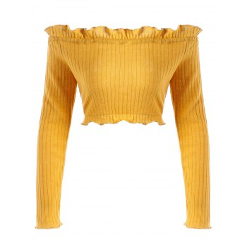 Off The Shoulder Cropped Ruffle Sweater - EARTHY M