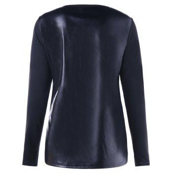 Butterfly Cut Out Faux Leather Panel Top - BLACK L