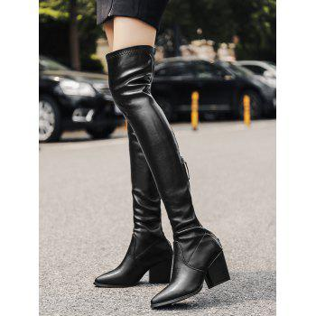 Stretch Chunky Heel Over The Knee Boots - BLACK 35