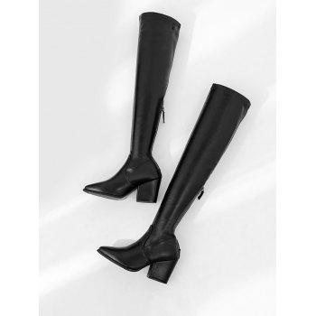 Stretch Chunky Heel Over The Knee Boots - BLACK 36