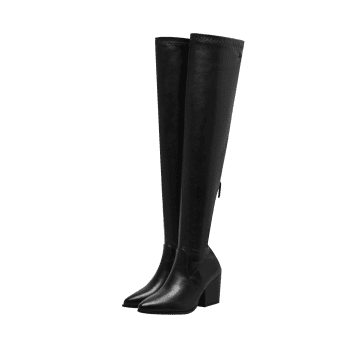 Stretch Chunky Heel Over The Knee Boots - BLACK 38
