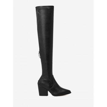 Stretch Chunky Heel Over The Knee Boots - BLACK 37