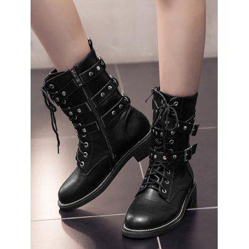 Studded Buckle Strap Stacked Heel Ankle Boots - BLACK 35
