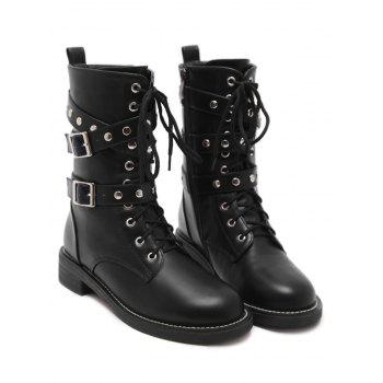 Studded Buckle Strap Stacked Heel Ankle Boots - BLACK 37