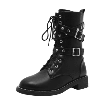 Studded Buckle Strap Stacked Heel Ankle Boots - 37 37