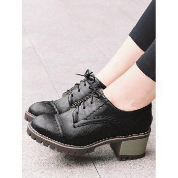 Stitching Chunky Heel Boots - BLACK 36