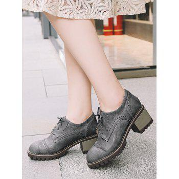 Stitching Chunky Heel Boots - GRAY 36