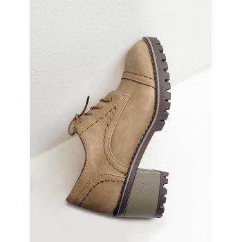 Stitching Chunky Heel Boots - LIMEADE 38