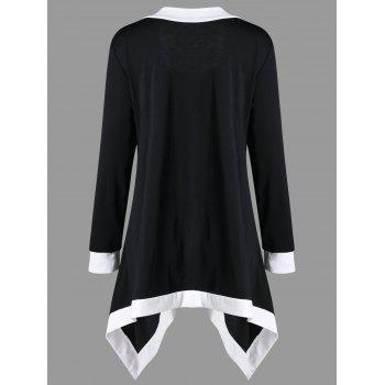 Plus Size Contrast Trim Tunic Top - BLACK BLACK