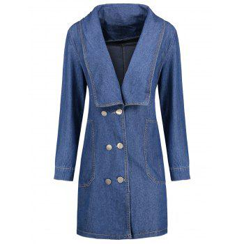Plus Size Double Breasted Long Denim Coat - BLUE 3XL