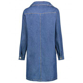 Plus Size Double Breasted Long Denim Coat - BLUE 4XL