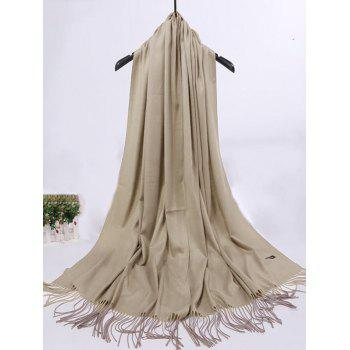 Vintage Faux Cashmere Blanket Scarf with Fringed Edge -  KHAKI