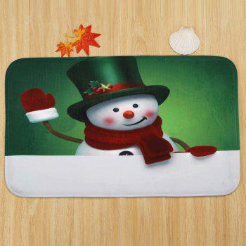 Christmas Snowman Greet Pattern 3 Pcs Bathroom Toilet Mat - COLORMIX