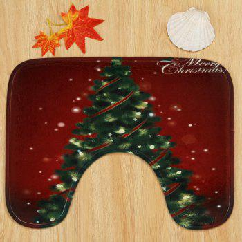 Christmas Pine Tree Pattern 3 Pcs Toilet Mat Bath Mat - COLORMIX