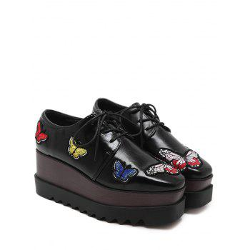 Butterfly Embroidery PU Leather Wedge Shoes - BLACK 36