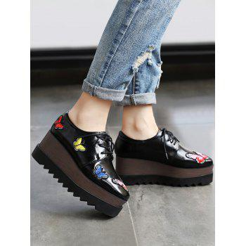 Butterfly Embroidery PU Leather Wedge Shoes - 39 39