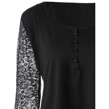 Plus Size Lace Trim Longline Henley Top - BLACK 3XL