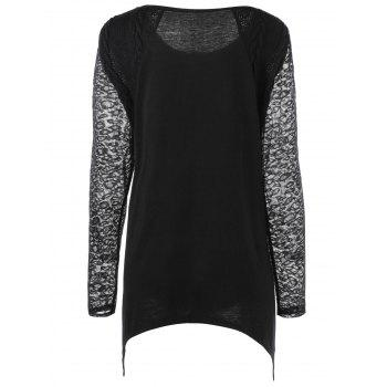 Plus Size Lace Trim Longline Henley Top - BLACK BLACK
