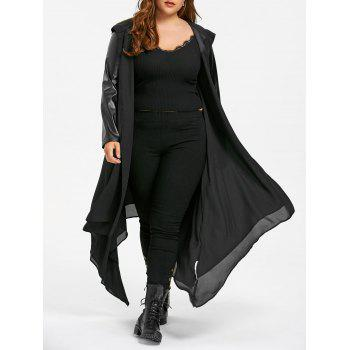 PU Leather Trim Hooded Duster Coat - BLACK 2XL