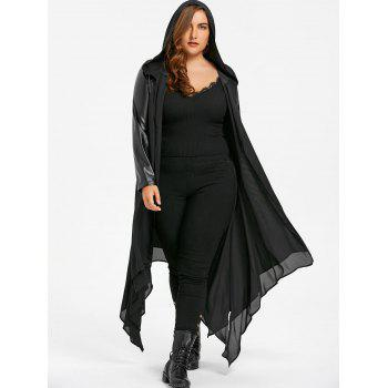 PU Leather Trim Hooded Duster Coat - 5XL 5XL