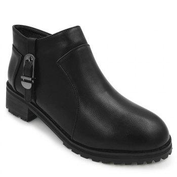 Buckle Strap Side Zip Ankle Boots - BLACK 35