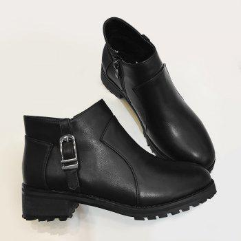 Buckle Strap Side Zip Ankle Boots - BLACK 37