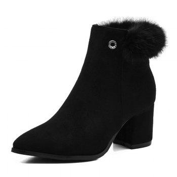 Fur Embellished Pointed Toe Chunky Heel Boots - BLACK BLACK