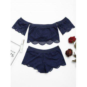 Lace Off Shoulder Sheer Bralette Set - L L
