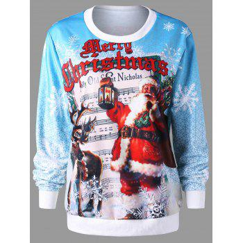 Christmas Pullover Graphic Print Sweatshirt - COLORMIX XL
