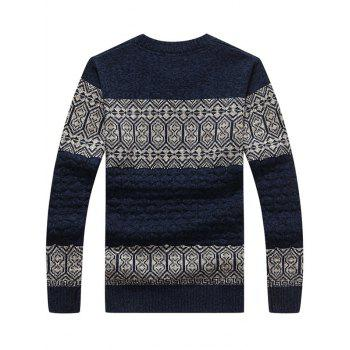 Retro Stripe Pattern Crew Neck Sweater - PURPLISH BLUE L
