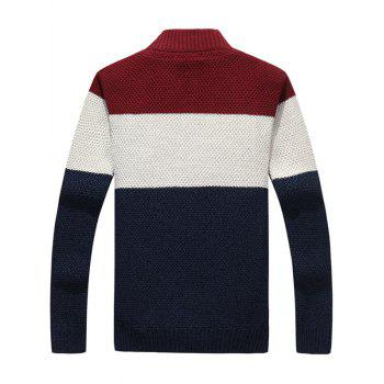 Zip Up Stand Collar Striped Sweater - L L