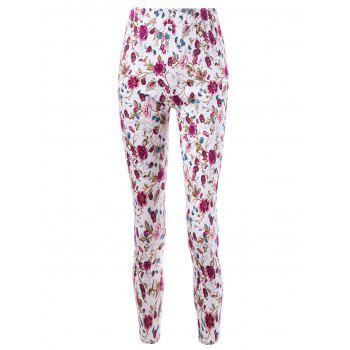 Patch Pockets Allover Floral Skinny Pants - COLORMIX M
