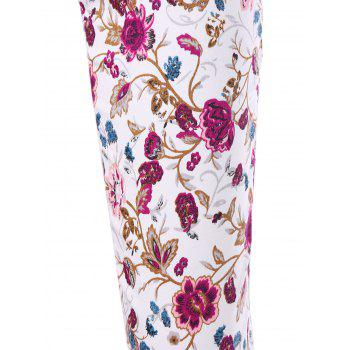 Patch Pockets Allover Floral Skinny Pants - 2XL 2XL