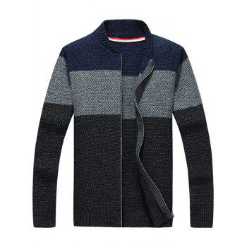 Zip Up Stand Collar Striped Sweater - DEEP GRAY L