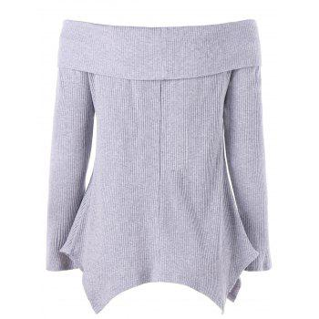 Off Shoulder Long Sleeve Irregular Knitwear - GRAY L