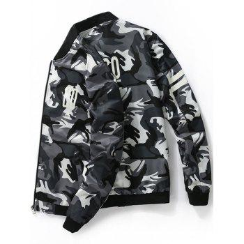 Graphic Printed Camo Bomber Jacket - DEEP GRAY 3XL